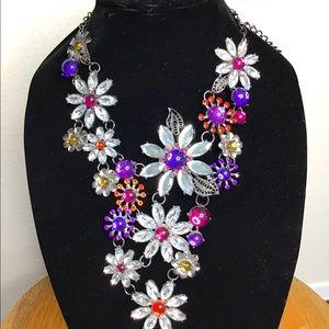 Silver &Purple Crystal Flower Bib Necklace